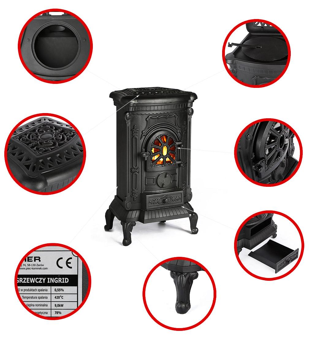 kaminofen gussofen gusskamin 9 kw ebay. Black Bedroom Furniture Sets. Home Design Ideas